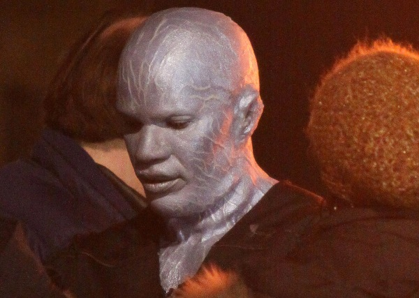 Jamie Foxx wearing his Electro make up at 'The Amazing Spider-Man 2' set in NYC