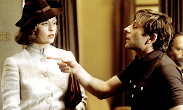 Faye Dunaway and Roman Polanski on the set of Chinatown.