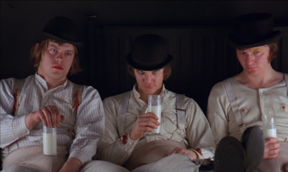 Dim-Warren-Clarke-Alex-DeLarge-Malcolm-McDowell-Georgie-James-Marcus-in-the-Korova-Milkbar-A-Clockwork-Orange-Film-1971
