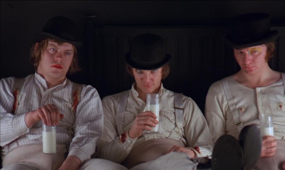 Dim-Warren-Clarke-Alex-DeLarge-Malcolm-McDowell-Georgie-James-Marcus-in-the-Korova-Milkbar-A-Clockwork-Orange-Film-1971