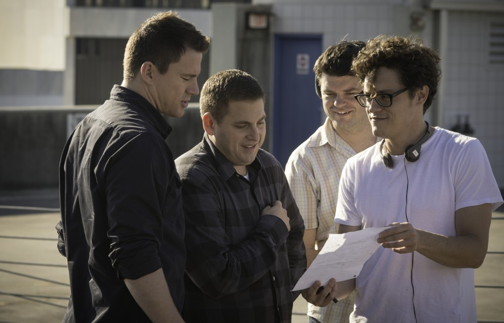 BTS/ Directors PHIL LORD and CHRIS MILLER rehearse with Hill/Tatum