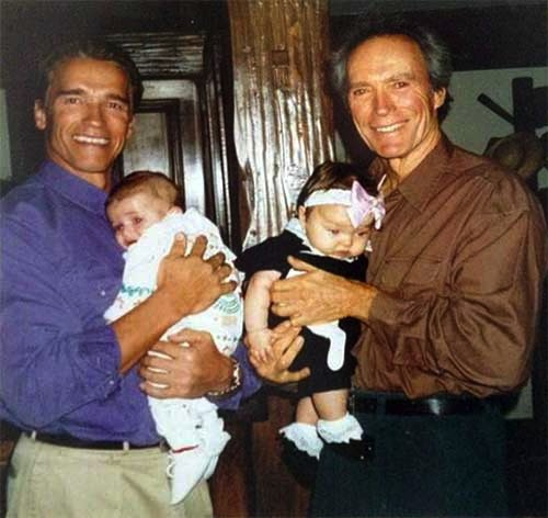 Arnold-Schwarzenegger-with-his-son-Patrick-and-Clint-Eastwood-with-his-daughter-Francesca