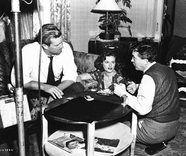 Sterling Hayden, Jean Hagen and director John Huston asphalt jungle