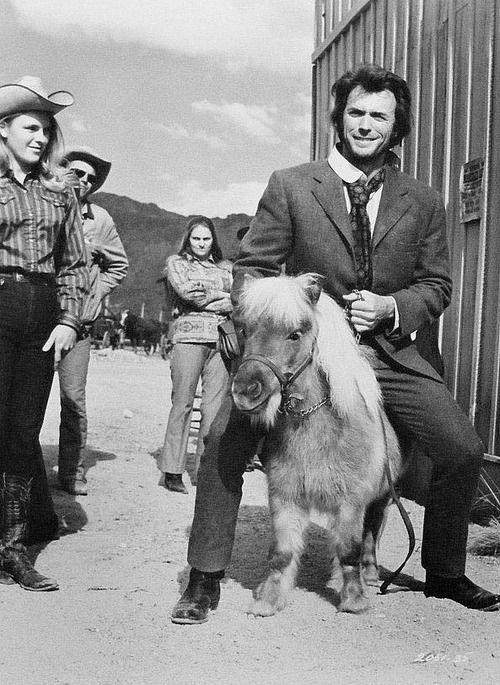 Clint-Eastwood-rides-a-rare-miniature-pony-on-the-set-of-Joe-Kidd-1972.
