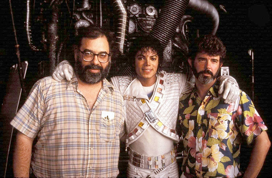 Francis-Ford-Coppola-Michael-Jackson-and-George-Lucas-on-the-set-of-Captain-EO