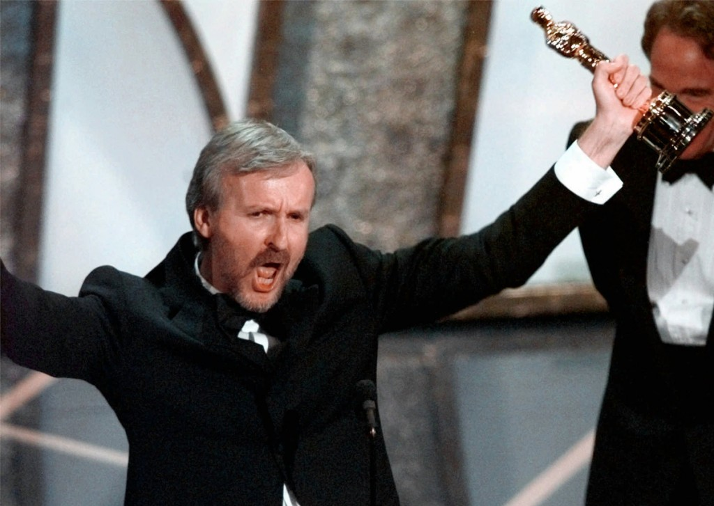 "James Cameron reacts saying ""I'm king of the world"" after accepting the Best Director Oscar for ""Titanic"" at the 70th Academy Awards in Los Angeles Monday, March 23, 1998. ""Titanic"" also won for Best Picture.(AP Photo/Susan Sterner)"