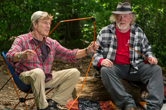 "This photo provided by Broad Green Pictures shows, Robert Redford, left, as Bill Bryson and Nick Nolte as Stephen Katz taking in the view along the Appalachian Trail in the film, ""A Walk in the Woods."" The movie releases in U.S. theaters on Sept. 2, 2015. (Frank Masi, SMPSP/Broad Green Pictures via AP)"