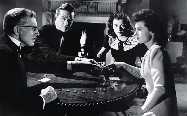 THE UNINVITED, from left, Alan Napier, Ray Milland, Gail Russell, Ruth Hussey, 1944