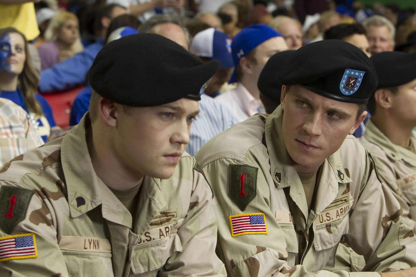 Billy (Joe Alwyn) with Dime (Garrett Hedlund) in TriStar Pictures' BILLY LYNN'S LONG HALFTIME WALK.