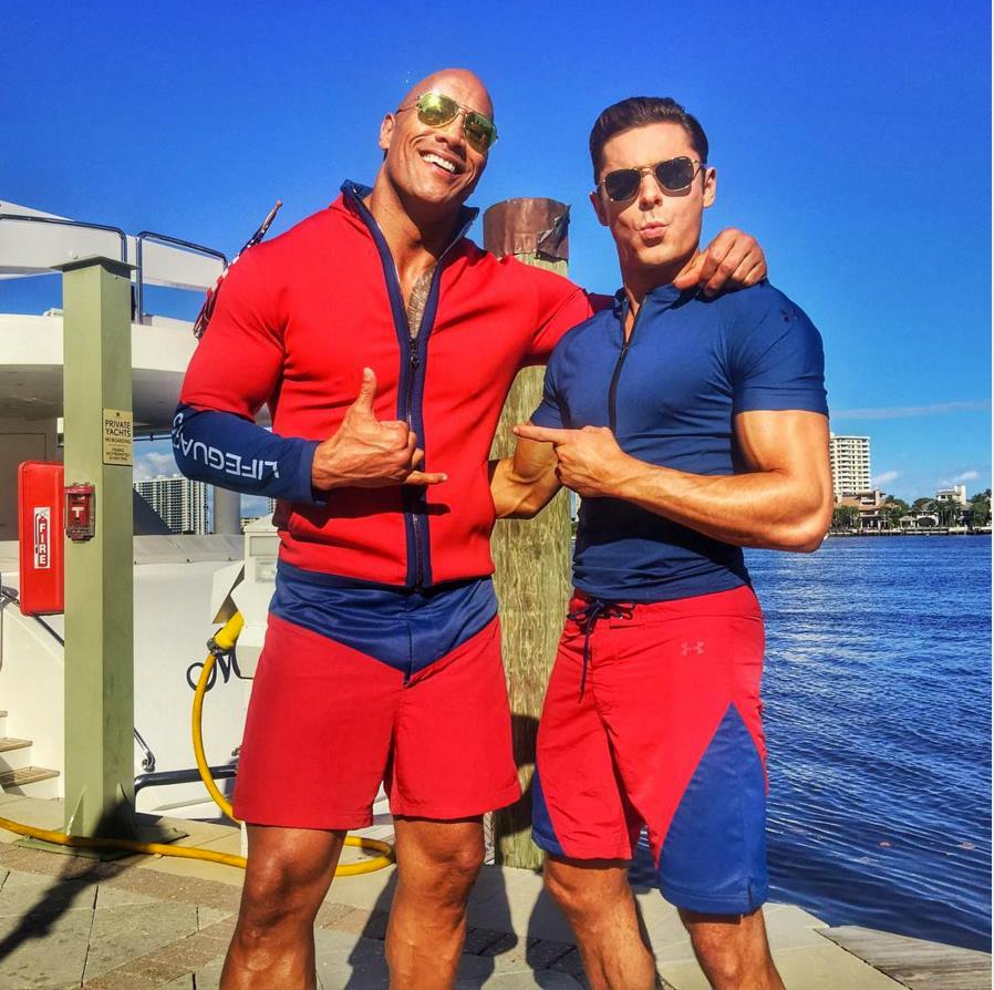dwayne-the-rock-johnson-and-zac-effron-on-baywatch-movie-set