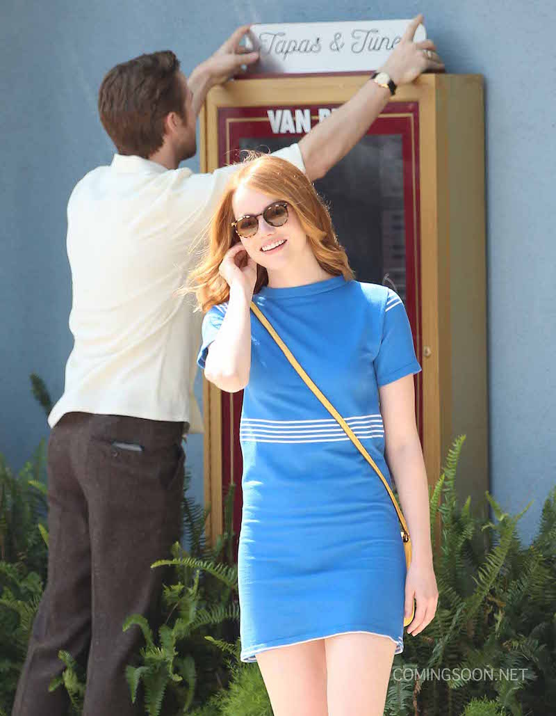 51827648 Actors Emma Stone and Ryan Gosling are seen filming scenes for the upcoming movie 'La La Land' in Los Angeles, California on August 19, 2015. FameFlynet, Inc - Beverly Hills, CA, USA - +1 (818) 307-4813