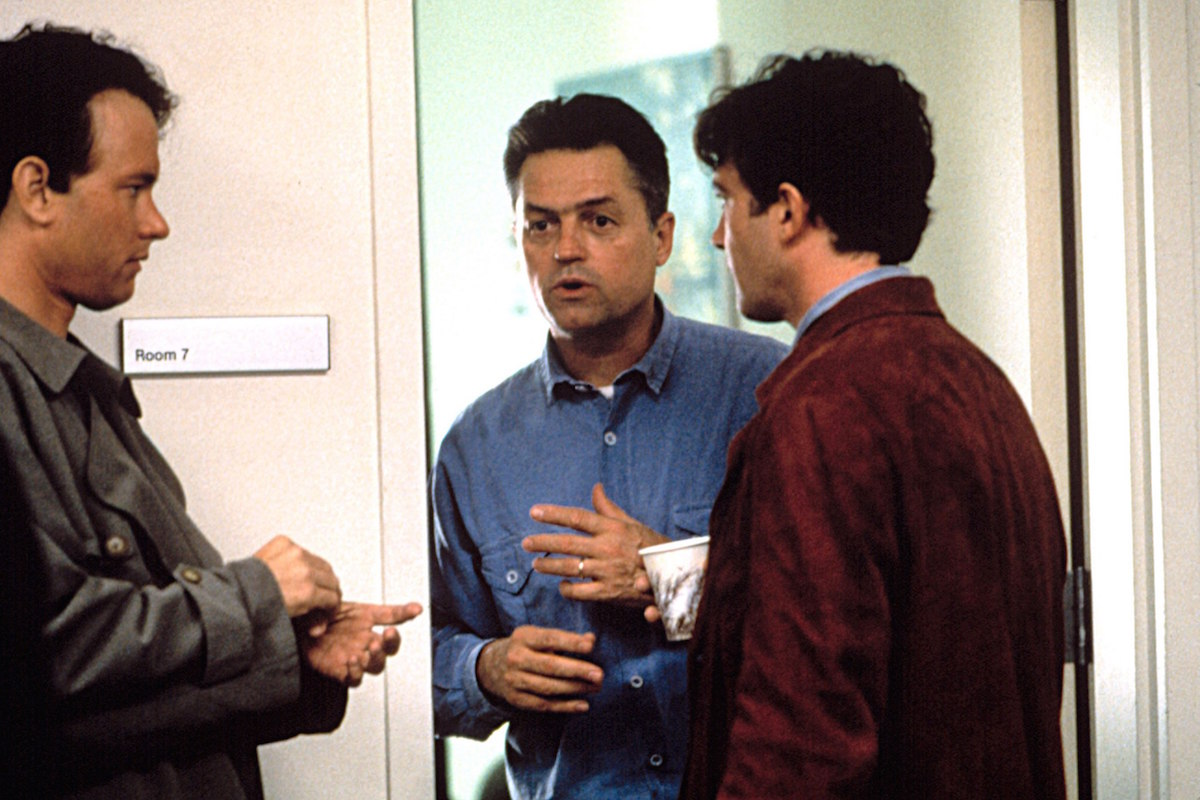 PHILADELPHIA, Tom Hanks, director Jonathan Demme, Antonio Banderas, 1993, (c)Tristar Pictures/courtesy Everett Collection