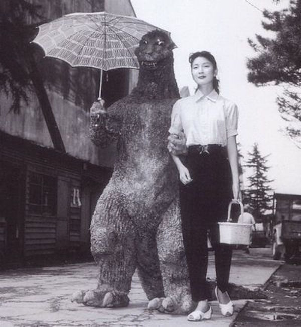 Godzilla and his first leading lady, Momoko Kochi,